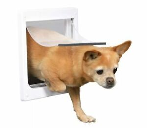 2 Way Transparent Flap Dog 25x29 White Removable Metal Bar Included