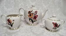 Queen's Fine China India, 3 Piece Botanical Tea Set