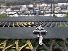 Russian Orthodox Cross necklace,Suppedaneum Cross,Christian Byzantine Cross