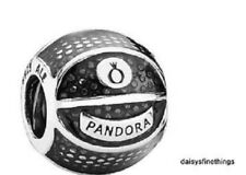 NWT AUTHENTIC PANDORA SILVER CHARM WITH ENAMEL BASKETBALL  #791201EN44