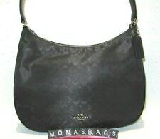 Coach Black Signature Nylon Top Zip Hobo Shoulder Handbag F73185 NWT $278