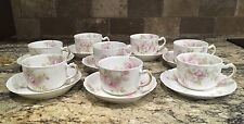 8 SETS 16 PIECES HAVILAND FRANCE LIMOGES SCHLEIGER 42E CUPS AND SAUCERS ROSES