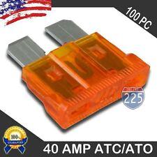 100 Pack 40 AMP ATC/ATO STANDARD Regular FUSE BLADE 40A CAR TRUCK BOAT MARINE RV