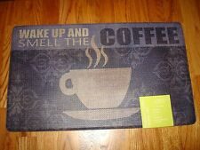 Memory Foam Anti Fatigue  Kitchen Floor Mat Rug 18x30 Wake up and Smell COFFEE!