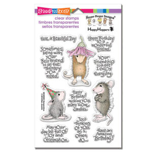 HOUSE MOUSE & SENTIMENTS FRIEND CLEAR Rubber Stamp Set STAMPENDOUS SSCM5003 New
