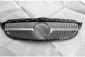 Front Diamond Grille Grill For Mercedes Benz W205 C-Class 2015-2018 2019 2020