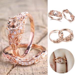 1Pair Women Ring Rose Gold Filled White Topaz For Wedding Engagement