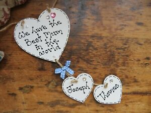 Personalised Best Mum Handmade Hearts Mother's Day Gift Hanging Plaque Granny