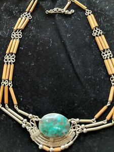 Recycled Beads Turquoise Stones Toggle Silver Beads Ethically Made Fair Trade Bubble Necklace Moroccan Bauble Necklace