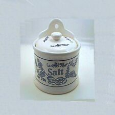 FLOW BLUE ONION DELFT POTTERY SALT CROCK CANISTER - SHIPS FREE