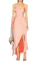NWT $795 Jonathan Simkhai High Slit Asymmetrical Stripe Dress Dusk White Size 10