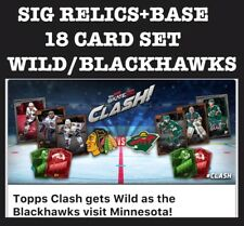 CLASH-SIGNATURE RELIC+BASE-WILD VS BLACKHAWKS-18 CARD SET-TOPPS SKATE 20