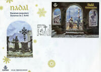 Spanish Andorra 2018 FDC Christmas Popular Scenes 1v M/S Cover Diorama Stamps