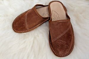 MENS REAL NATURAL SUEDE LEATHER HIGH QUALITY VERY COMFORTABLE SLIPPERS ALL SIZES