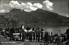 Spiez Kanton Bern alte AK 1962 datiert Blick über den See gegen die Ralligstöcke