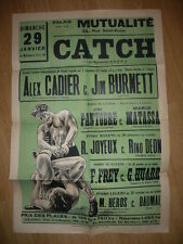 AFFICHE 1930 CATCH CATCH ALEX CALDIER CONTRE  JIM BURNETT SPORT