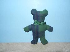 "Handmade Blue & Green Plaid Teddy Bear Rustic Primitive Country Small 6"" Tall"