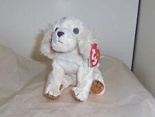Laptop retired 2004 cream plush 4in TY Beanie Babie sitting Puppy Dog 40150