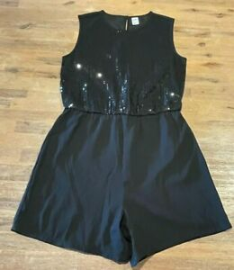 Ladies size 16  cute Black Sequin front upper  Playsuit Romper Anko *great*