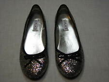5 Place Ladies shoes Ballet Flats Womens Glitter Black Silver Pink Bow sparkle 5