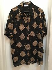 Ann Harvey, ladies top, size 18W, Black & Brown, Button down style...EUC