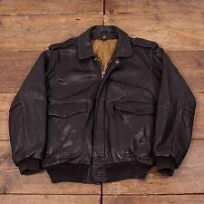 "Mens Vintage A2 Style Leather Bomber Flight Jacket Black M 42"" R4672"