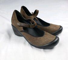 Privo Clarks Women's Sz 9.5 Brown Leather Mary Jane Wedge Pumps Heels 76022