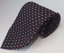 J. Crew 100% Silk Knit Necktie Classic Geometric Squares Navy Blue Red Ivory