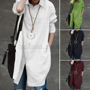 AU STOCK ZANZEA Women Long Sleeve Blouse Tunic Top Plus Size Tee Button Up Shirt