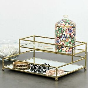 2 Tier Gold Golden Frame Mirror Caddy Bathroom Bath Essentials Display Organiser