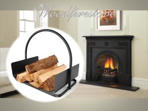 WOOD HEATER Indoor Log Rack with Carrier / Wood Holder FIREWOOD STORAGE Black