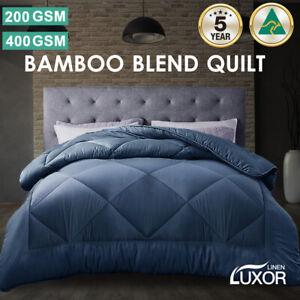 Aus Made All Size Microfibre Bamboo Winter Summer Quilt Duvet Doona Blue
