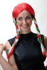 Lady Wig Wig Braided Pigtails Fan Football Em World Cup Italy Red Green White