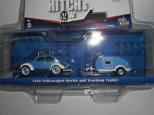 VOLKSWAGEN BEETLE AND TEARDROP TRAILER 1948 GREENLIGHT 1/64