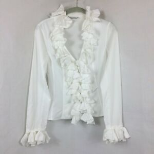 Anne Fontaine Women's 38 White Long Sleeve Ruffled Zip Front Blouse