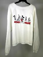 DISNEY Vintage Mickey Mouse Unlimited Jerry Leigh White Sweatshirt Women L 25/25