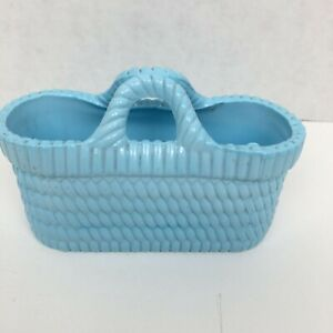 Antique Heavy Ceramic Blue Basket Marked