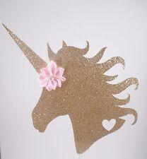 Gold Glitter Unicorn Cake Topper, Gold & Pink