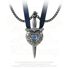 Love is King Secret Bethothal Necklace - Alchemy Gothic Sword and Heart Couples