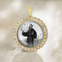 Saint Francis of Assisi Catholic Medal Black and White Pendant FREE Shipping