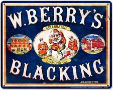 Vintage Shoe Shine W. Berry's Blacking Shoe Polish Metal Sign Advertising Bs049