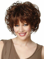Beautiful Brown Full-Volume Curls Wig Women's Short Hair Wig+Free Wig Cap