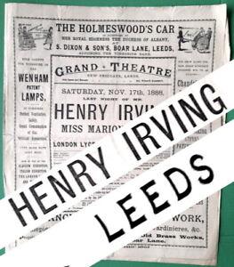1888 Henry Irving Leeds Grand Theatre programme The Bells & Robert Macaire