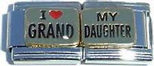 Italian Charm Enamel I Love heart My GrandDaughter Family double