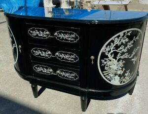 Black Lacquer Wood Chest with Two Cabinets, Three Drawers