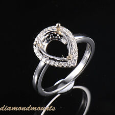 8x11mm Pear Cut Solid 14K White Gold Natural Diamond Semi Mount Ring Setting