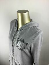 MAURICES Full Zip Up Gray Floral Graphic Hooded Sweatshirt Hoodie Women's Size L
