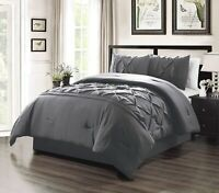 Full Size Solid Dark Grey Double-Needle Stitch Pinch Pleat Comforter Set