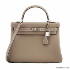 AUTHENTIC HERMES 32cm Etoupe Togo Retourne Kelly Bag w/ Palladium Hardware BNIB!