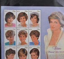 The Princess Diana Collection - 6 Full Pages of Uncut Stamps from 1997 w/ Binder